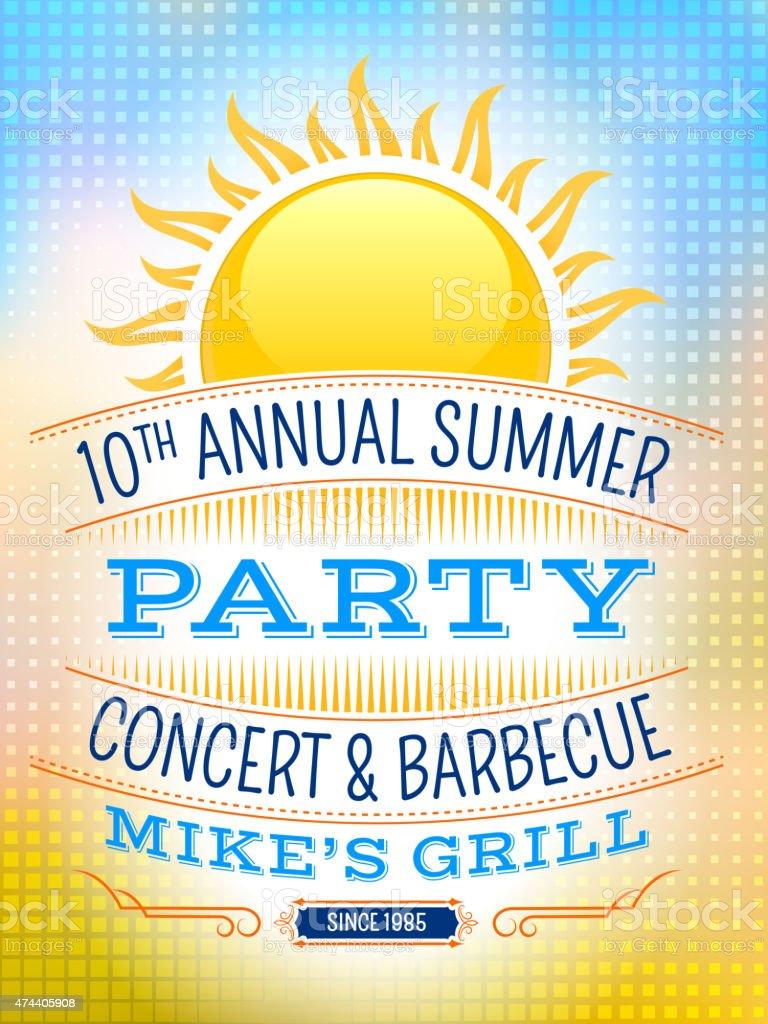 Summer party picnic vintage invitation with sunlight vector back vector art illustration
