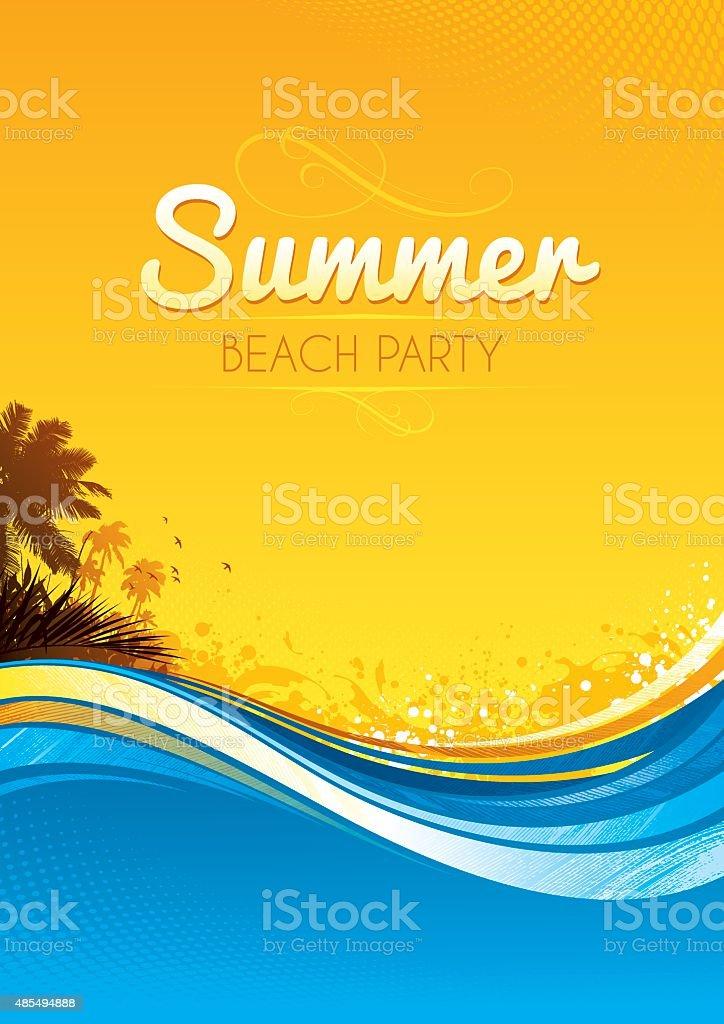 Summer party poster vector art illustration