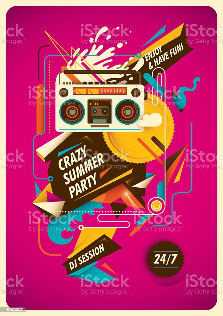 Summer party poster with abstraction. vector art illustration