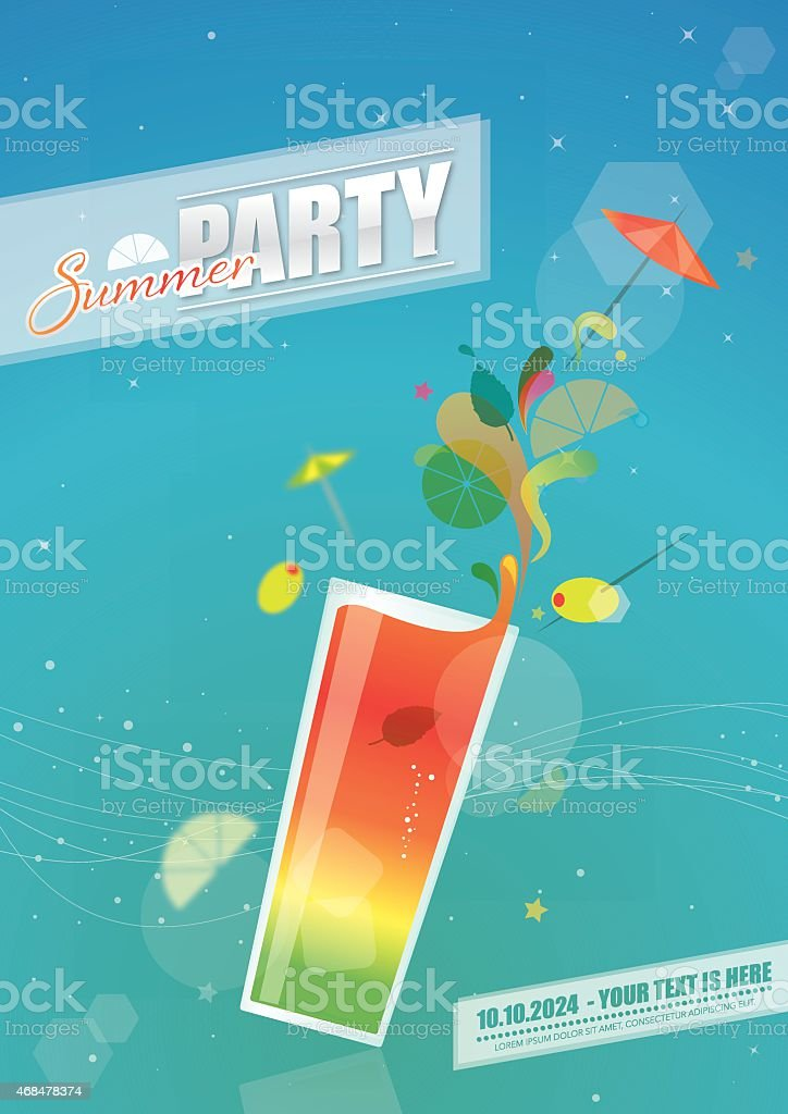 Summer party poster with coctail glass vector art illustration