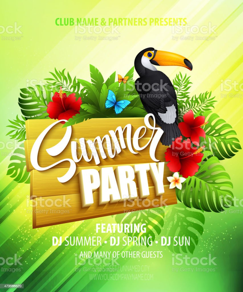 Summer party template poster with toucan and exotic plants vector art illustration