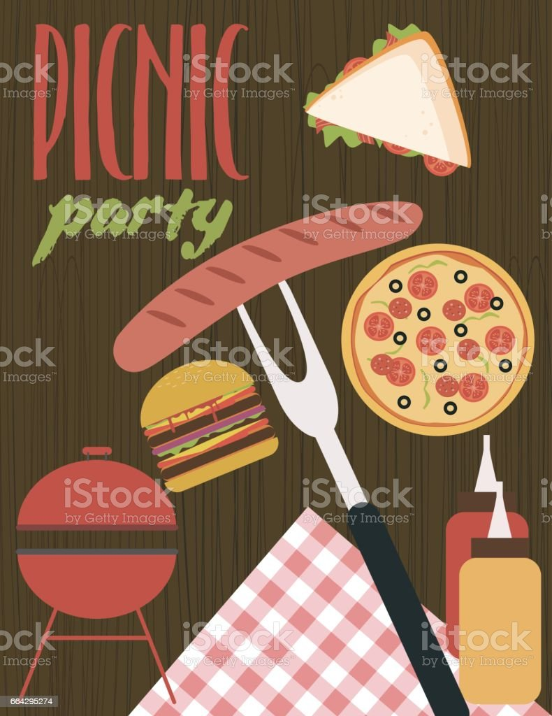 Summer picnic party card vector art illustration