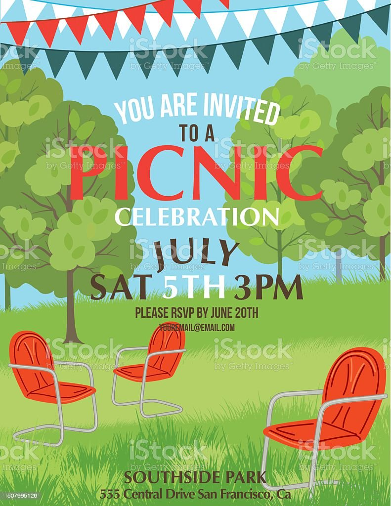 Summer Picnic Party Invitation Template vector art illustration