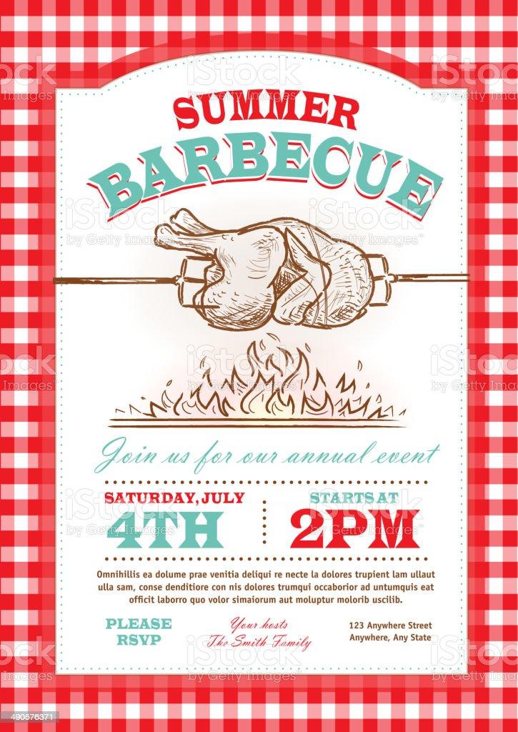 Summer picnic rostisserie chicken Picnic invitation design template vector art illustration