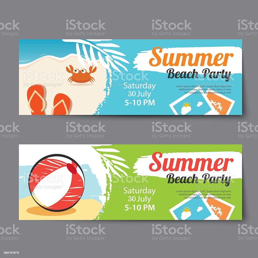 Summer Pool Party Ticket Template stock vector art 583797876 – Party Ticket Template