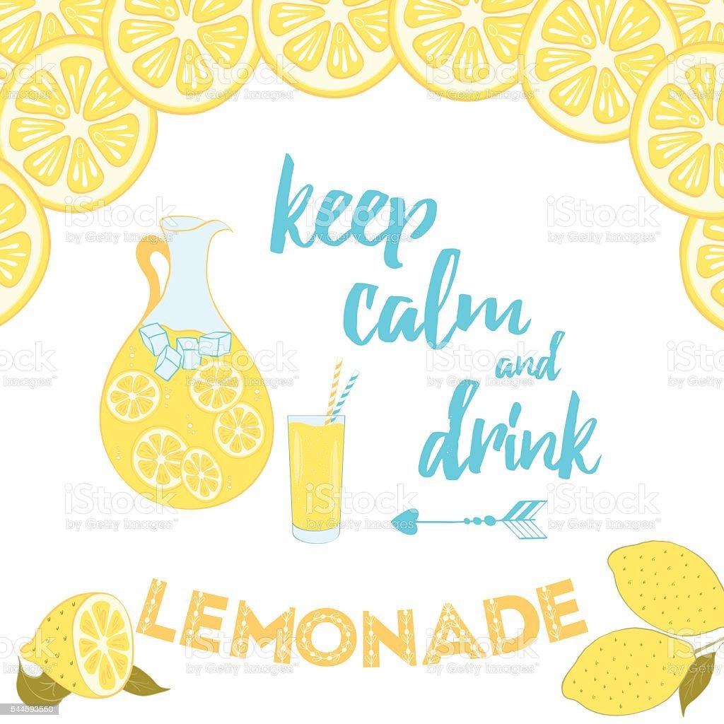 Summer positive sayings. Keep calm and drink lemonade. vector art illustration