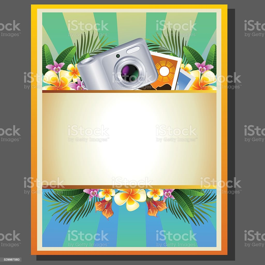 summer poster camera vector art illustration
