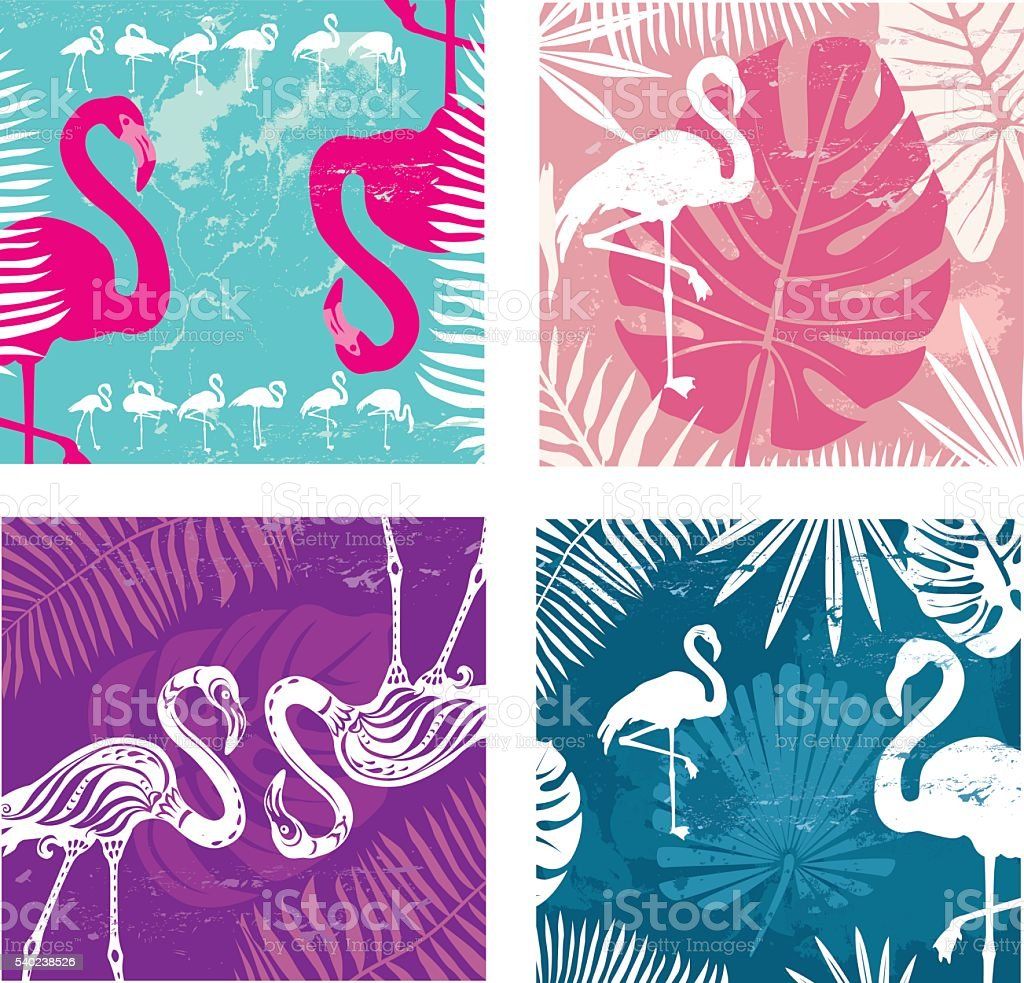 Summer posters set with flamingo vector art illustration