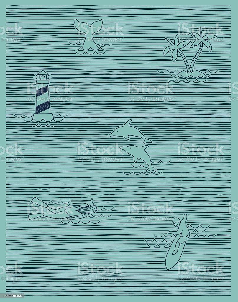 summer print stripe vector art illustration