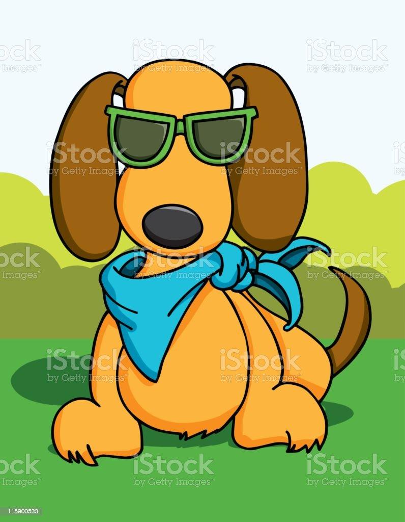 Summer Puppy vector art illustration