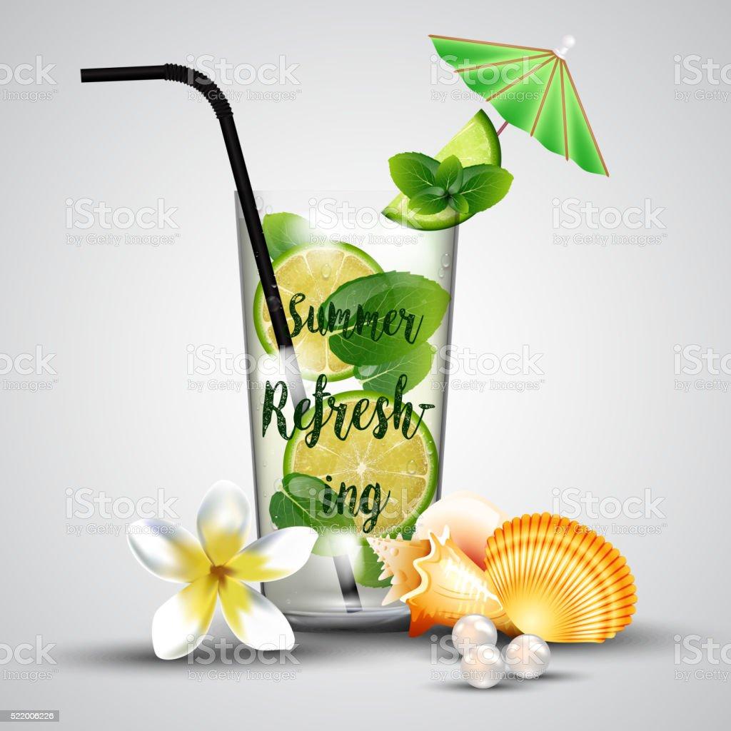 Summer refreshing tropical lemonade vector art illustration