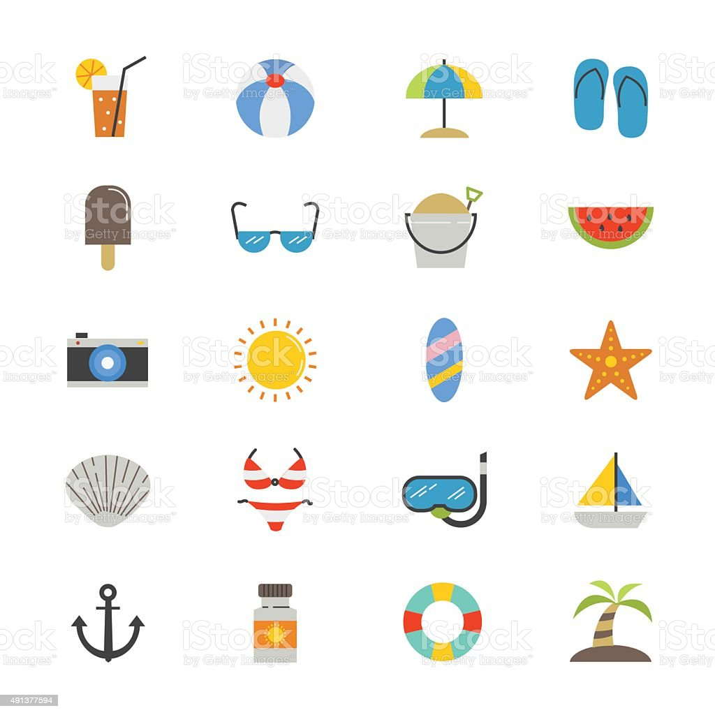 Summer Relax and Beach Flat Icons color vector art illustration