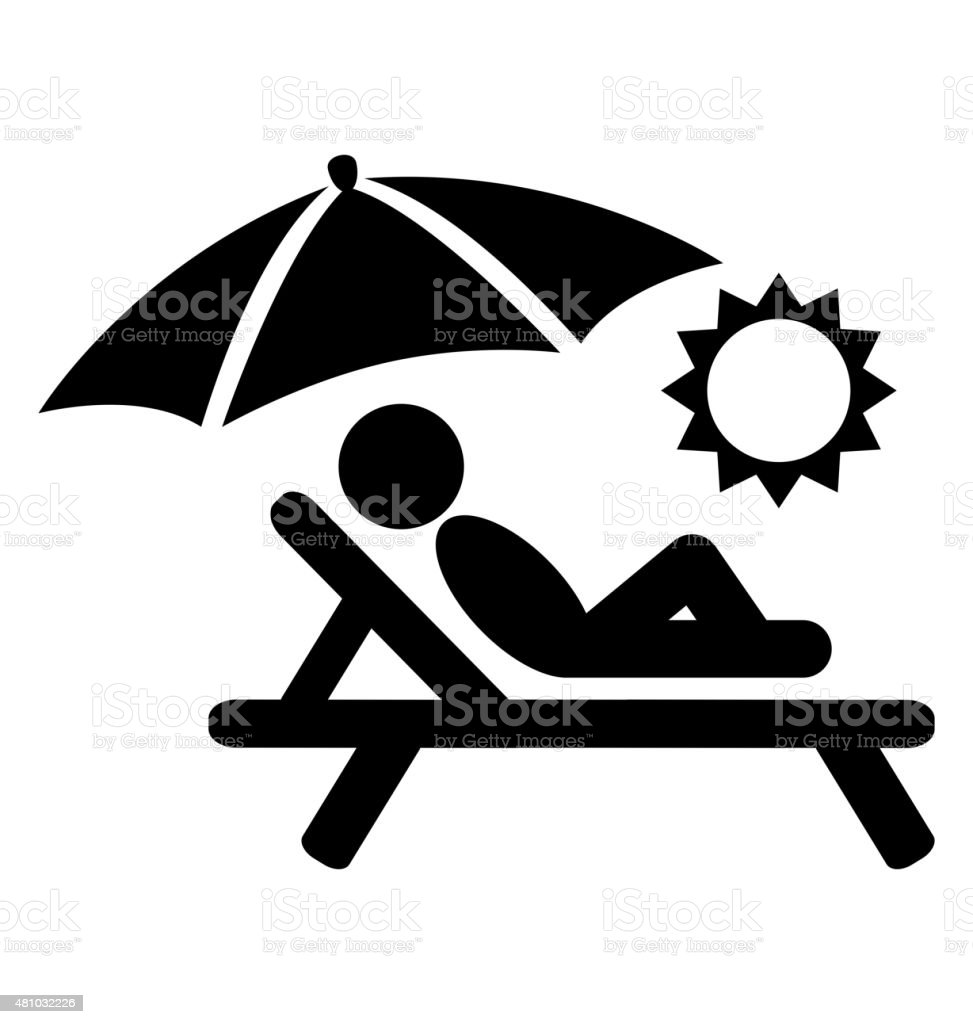 Summer Relax Sunbathing Pictograms Flat People Icons Isolated on vector art illustration