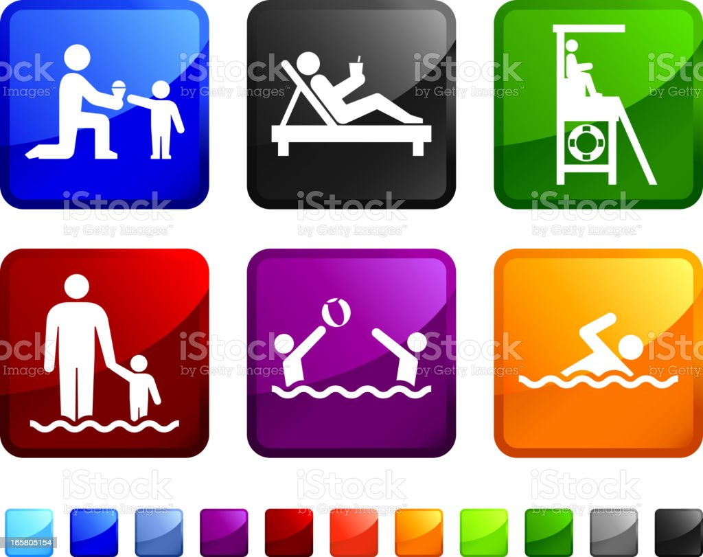 Summer Relaxation and Beach Activities vector icon set stickers royalty-free stock vector art