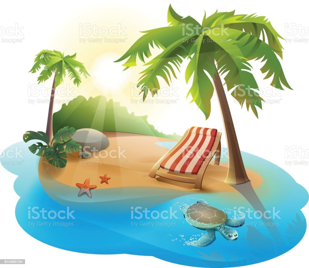 Summer rest. Chaise lounge under palm tree on tropical island vector art illustration