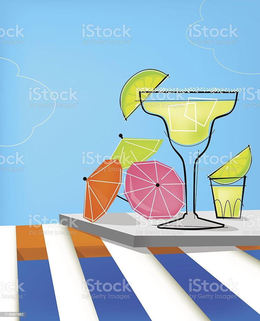 Summer Retro Cocktails vector art illustration