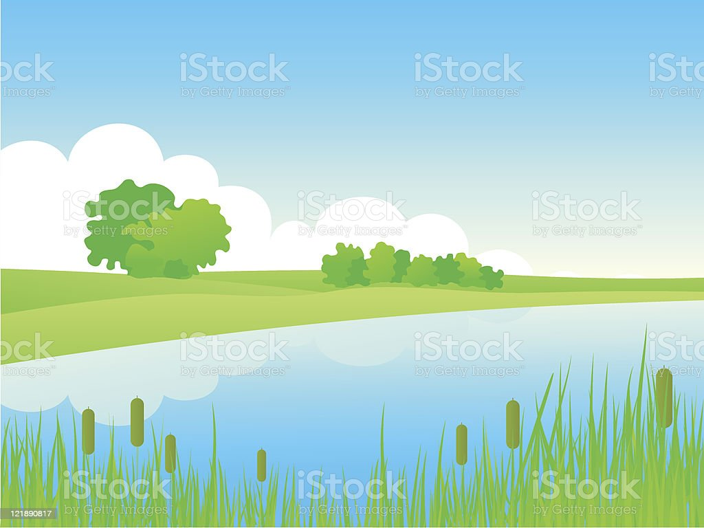 Summer riverside landscape. royalty-free stock vector art