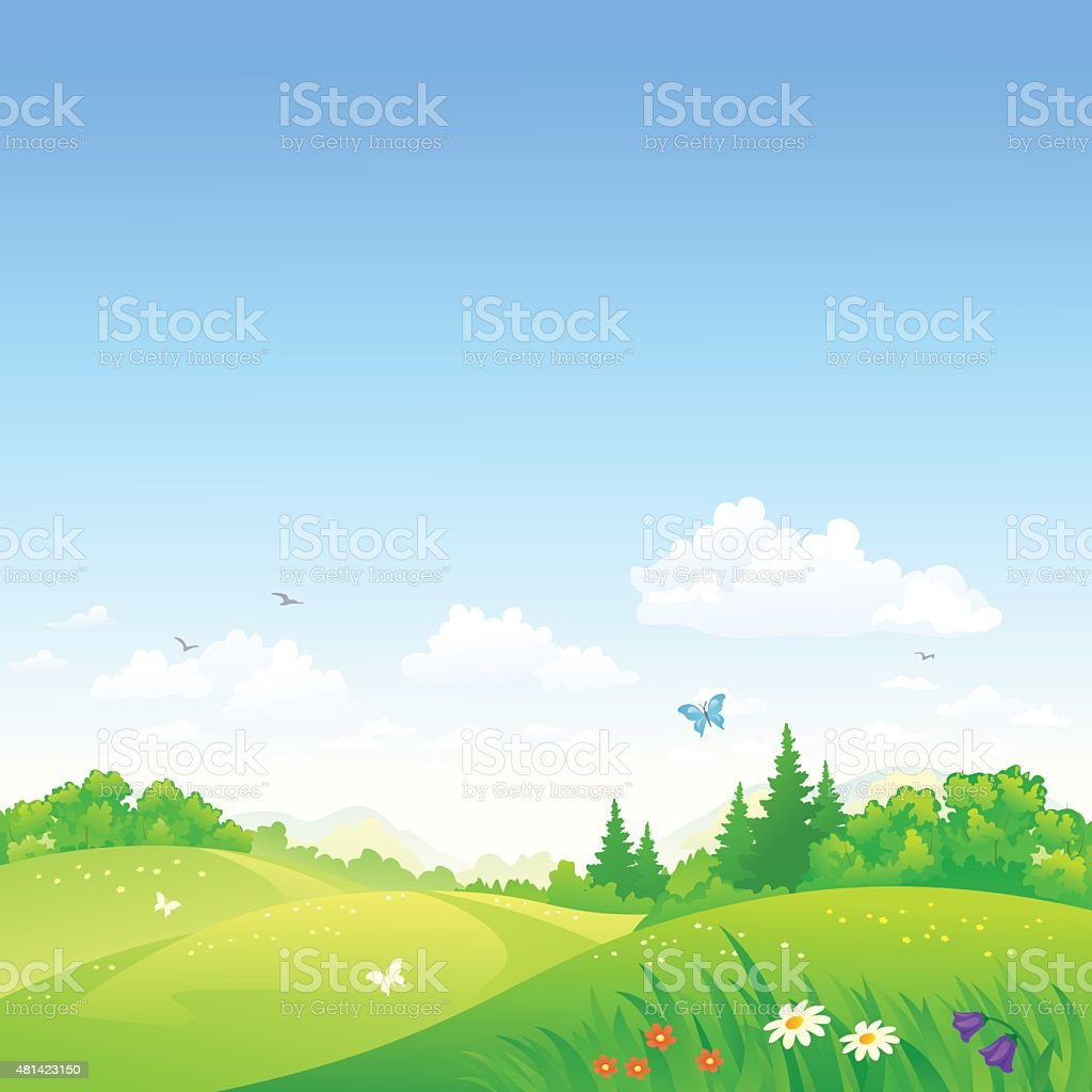 Summer rolling hills vector art illustration