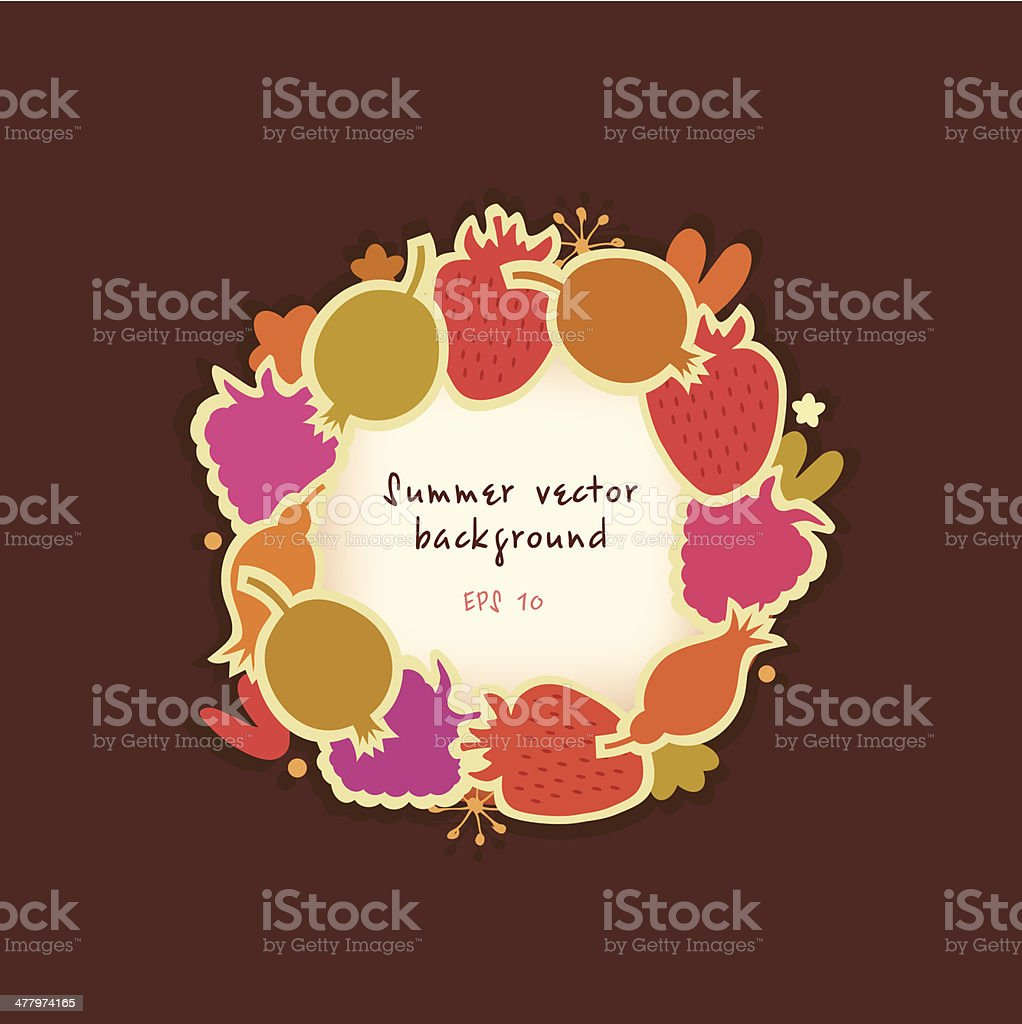 Summer round banner with berries royalty-free stock vector art