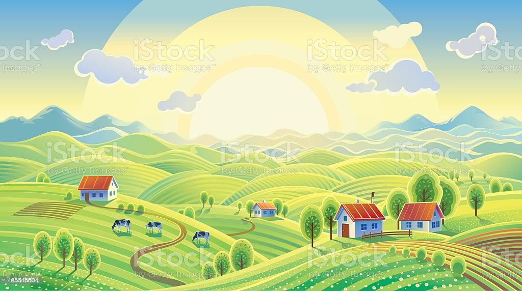 Summer rural landscape with village. vector art illustration