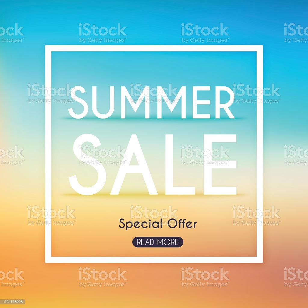 Summer Sale Banner. Sale Poster, Sale Flyer, Sale Vector. Blurre vector art illustration