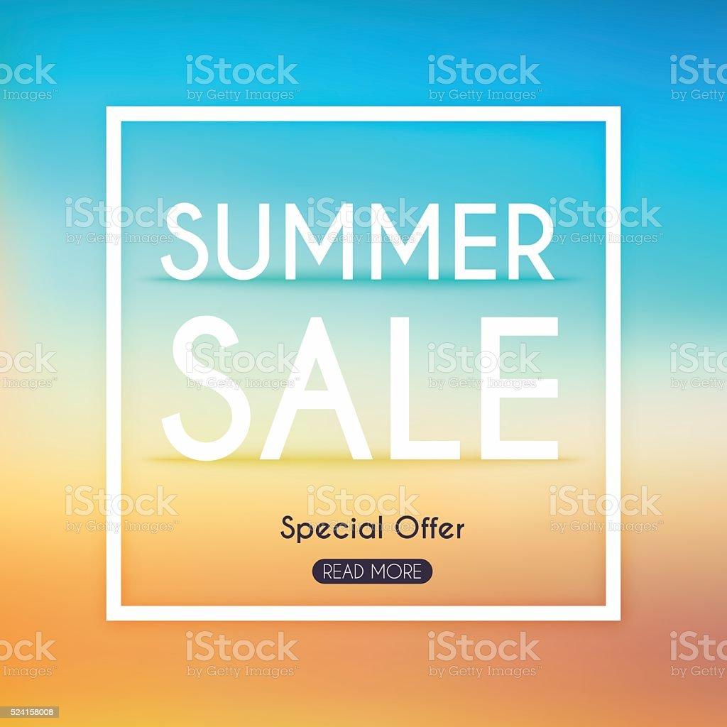 Summer Sale Banner. Sale Poster, Sale Flyer, Sale Vector. Blurre vector art illustration