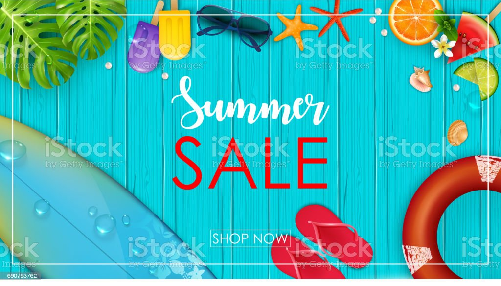 Summer sale banner vector art illustration