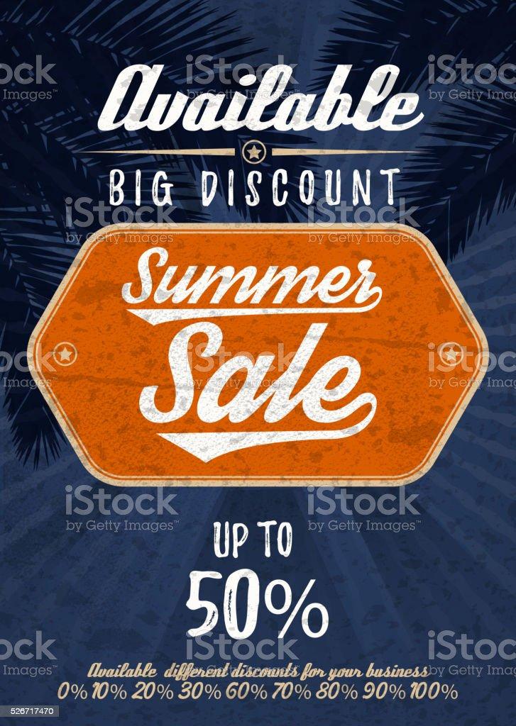 Summer Sale big discount. Vector vintage grunge background. vector art illustration