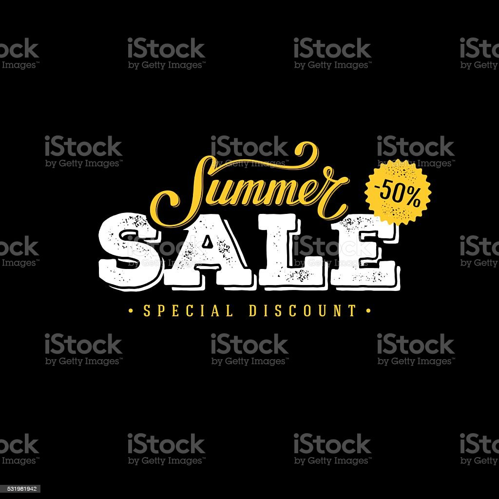 Summer sale black and yellow vector art illustration