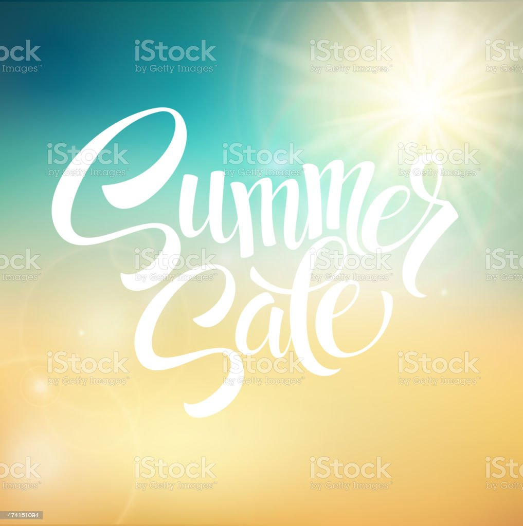 Summer Sale, blurred background. Vector illustration vector art illustration