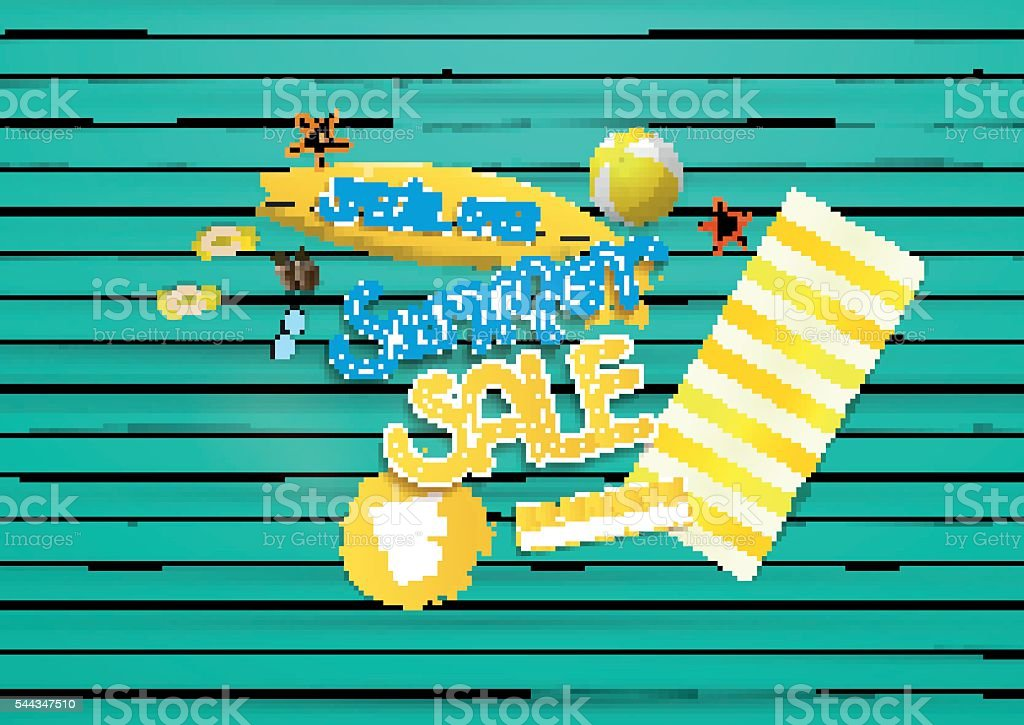 Summer sale concept, on painted wooden board, colorful vector design. vector art illustration