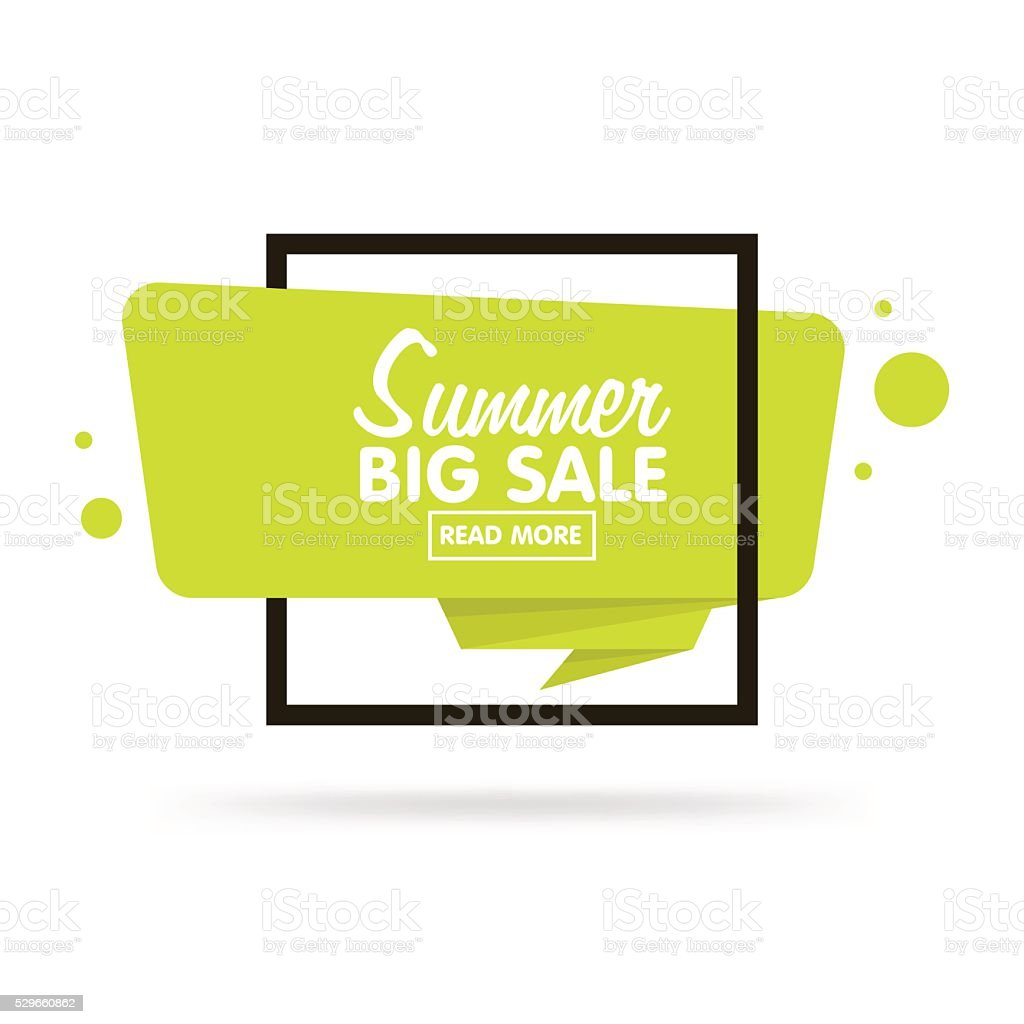 Summer sale concept. Origami style sticker and banner tamplate. vector art illustration