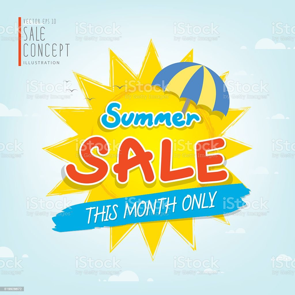 Summer Sale heading design for banner or poster Promotions. vector art illustration
