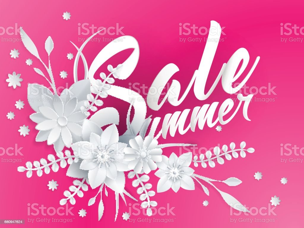 Summer Sale Lettering With Paper Art Flowers Stock Vector Art