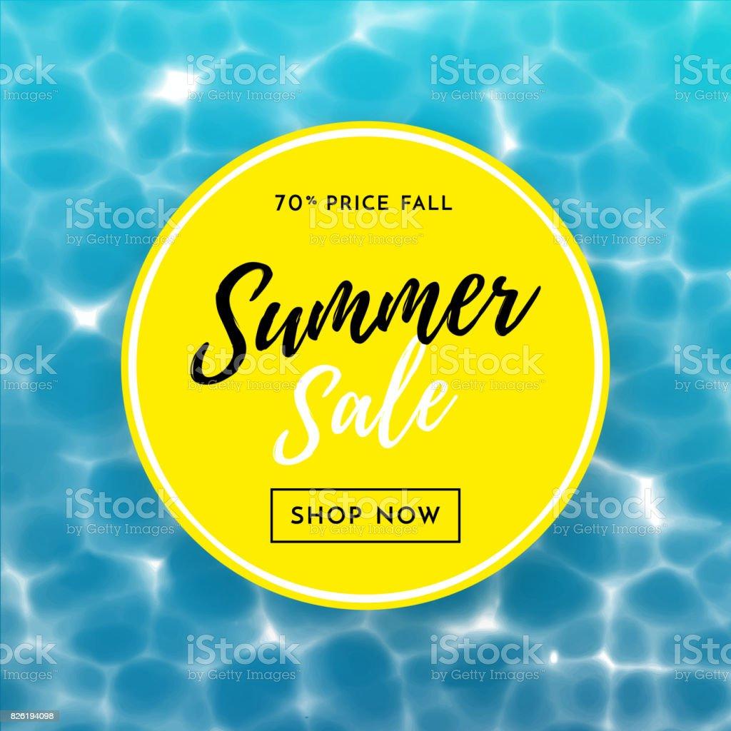 cartel de venta de verano para fondo de agua de descuento