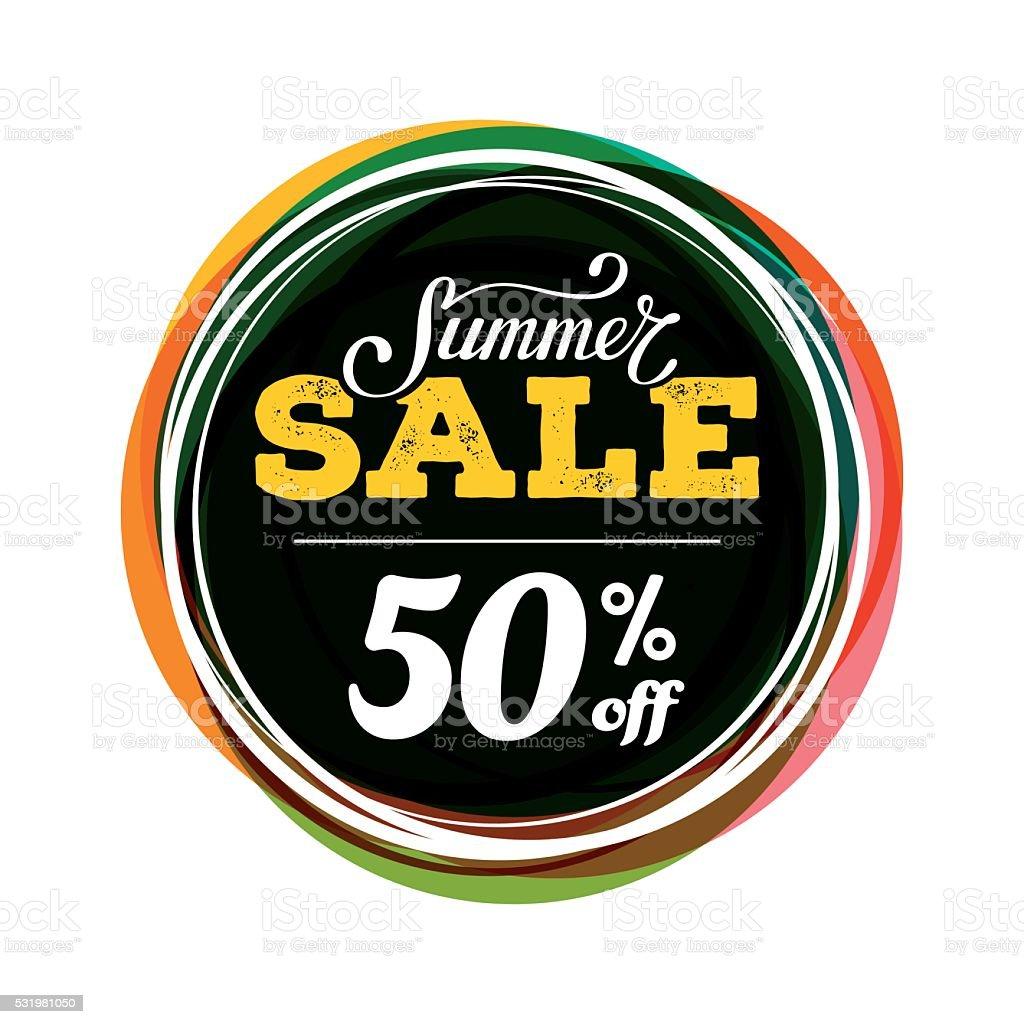 Summer sale round color vector art illustration