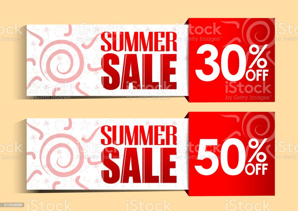 Summer Sale Tags and Signs with Sun and Patterns vector art illustration