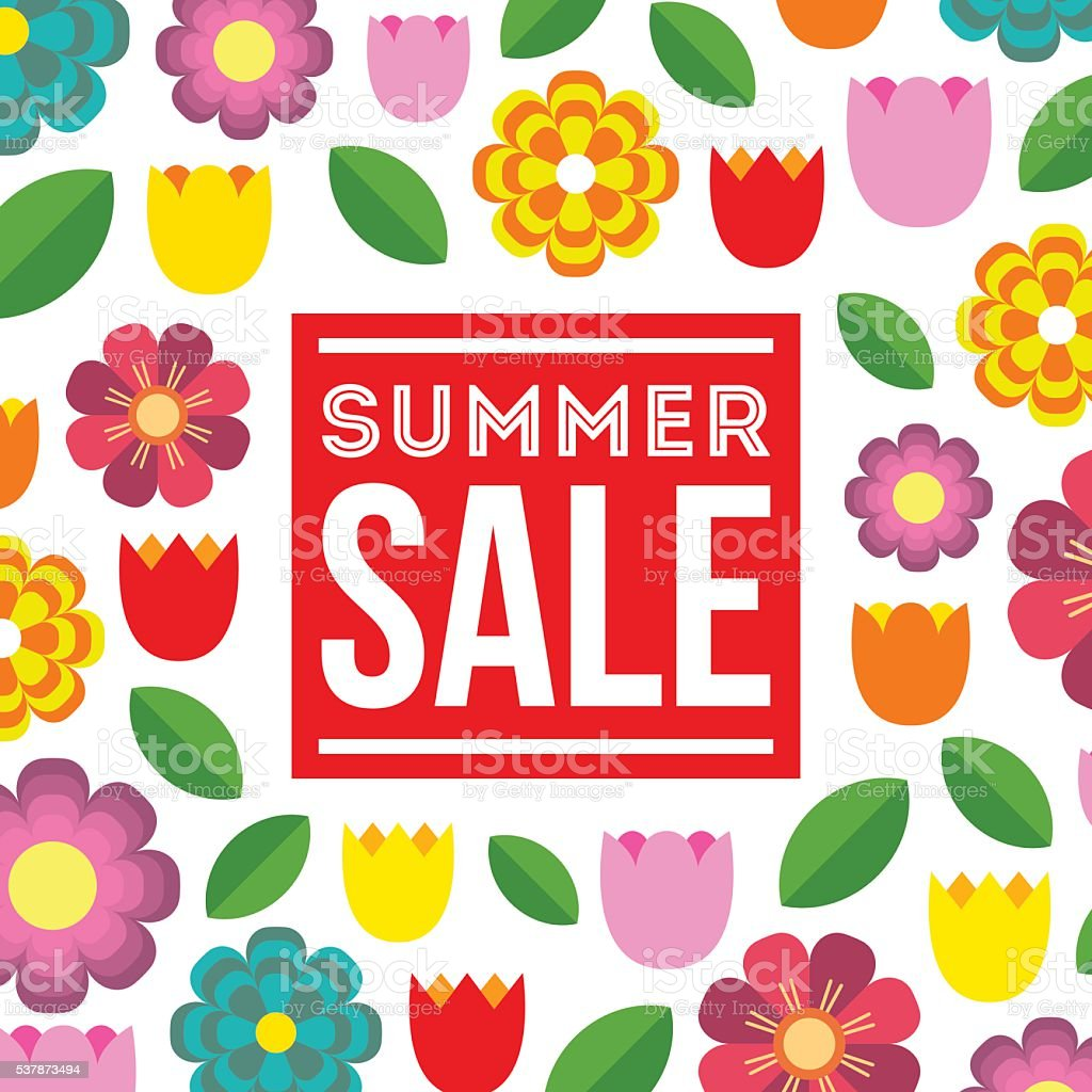 Summer Sale. Vector summer concept with flower background. vector art illustration