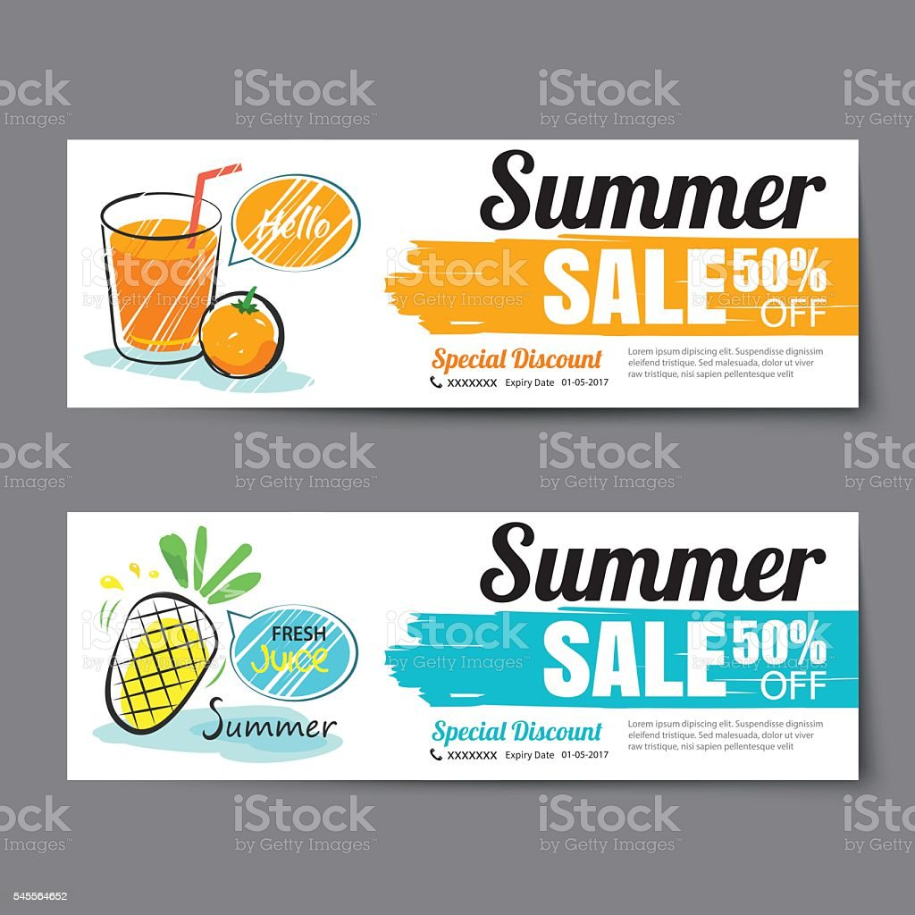 summer voucher templatediscount coupon banner hand drawn 1 credit