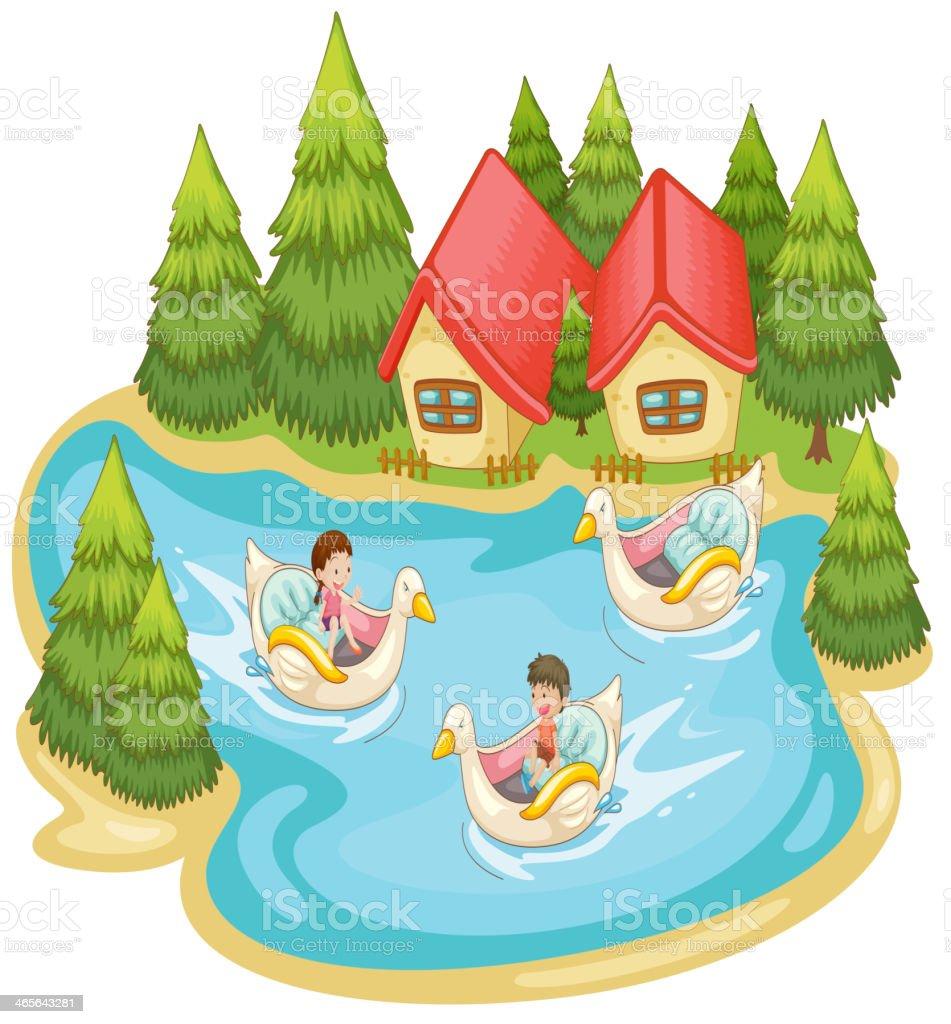 Summer scene by the lake vector art illustration