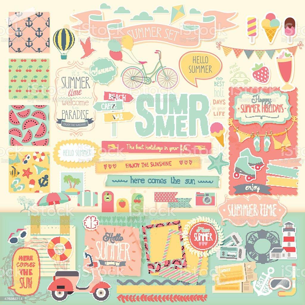 Summer scrapbook set - decorative elements. vector art illustration