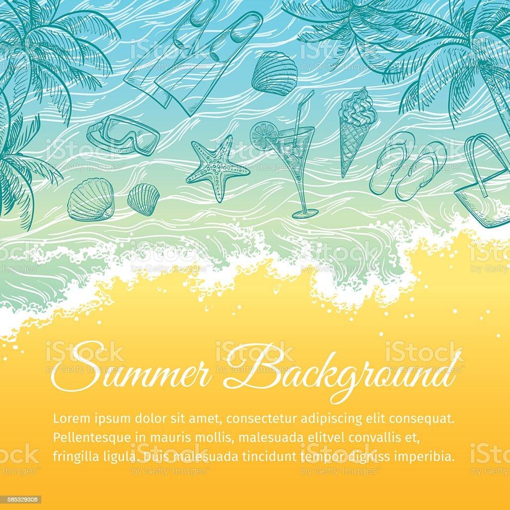 Summer sea background. vector art illustration