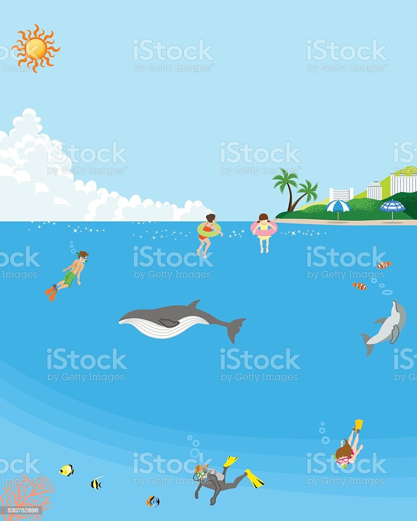 Summer sea bathing - undersea vector art illustration