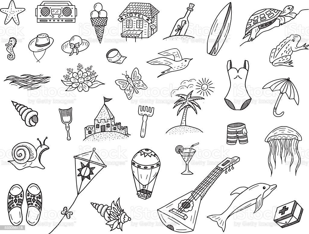Summer Sea Doodles vector art illustration