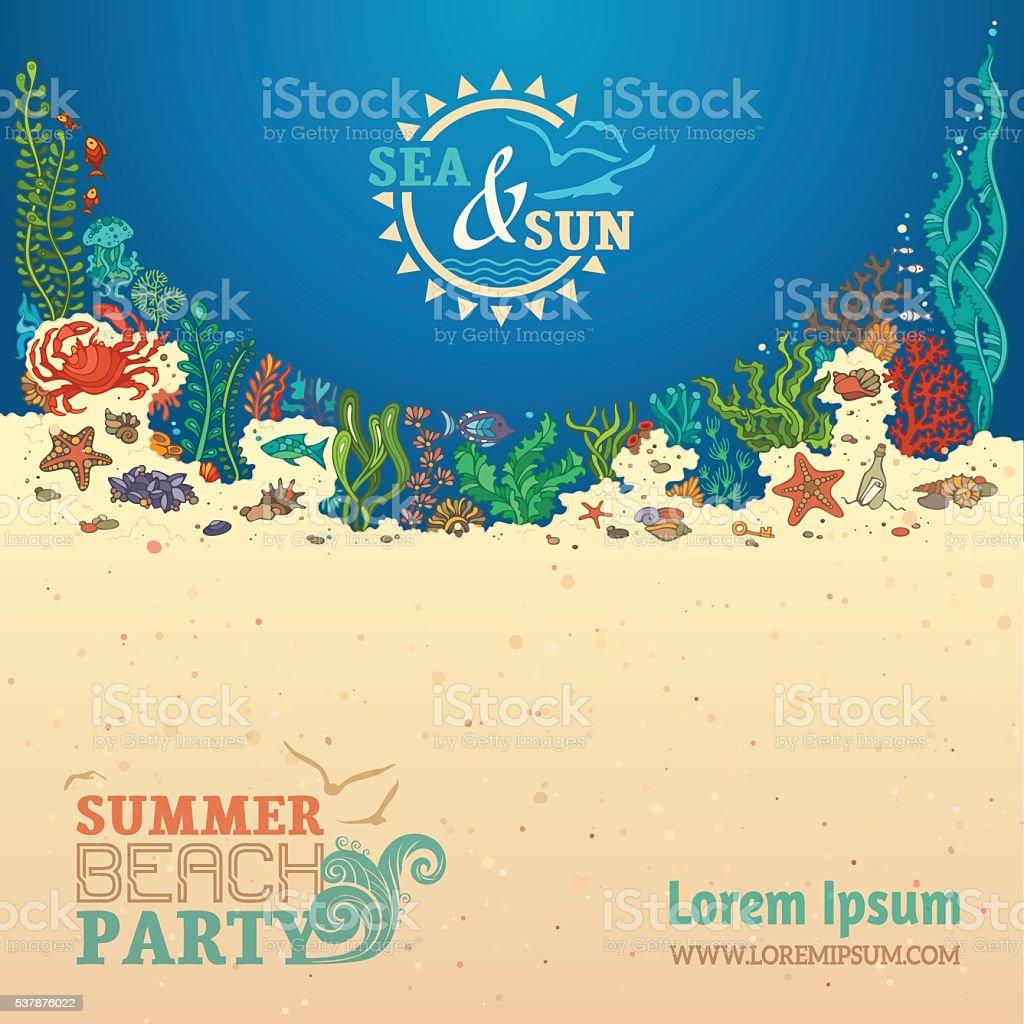 Summer sealife background. vector art illustration