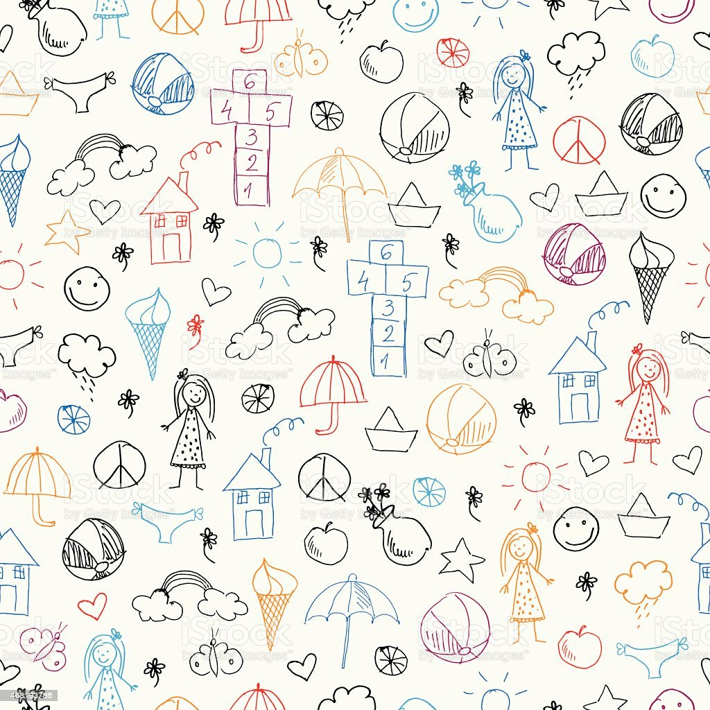 Summer seamless pattern with icons vector art illustration