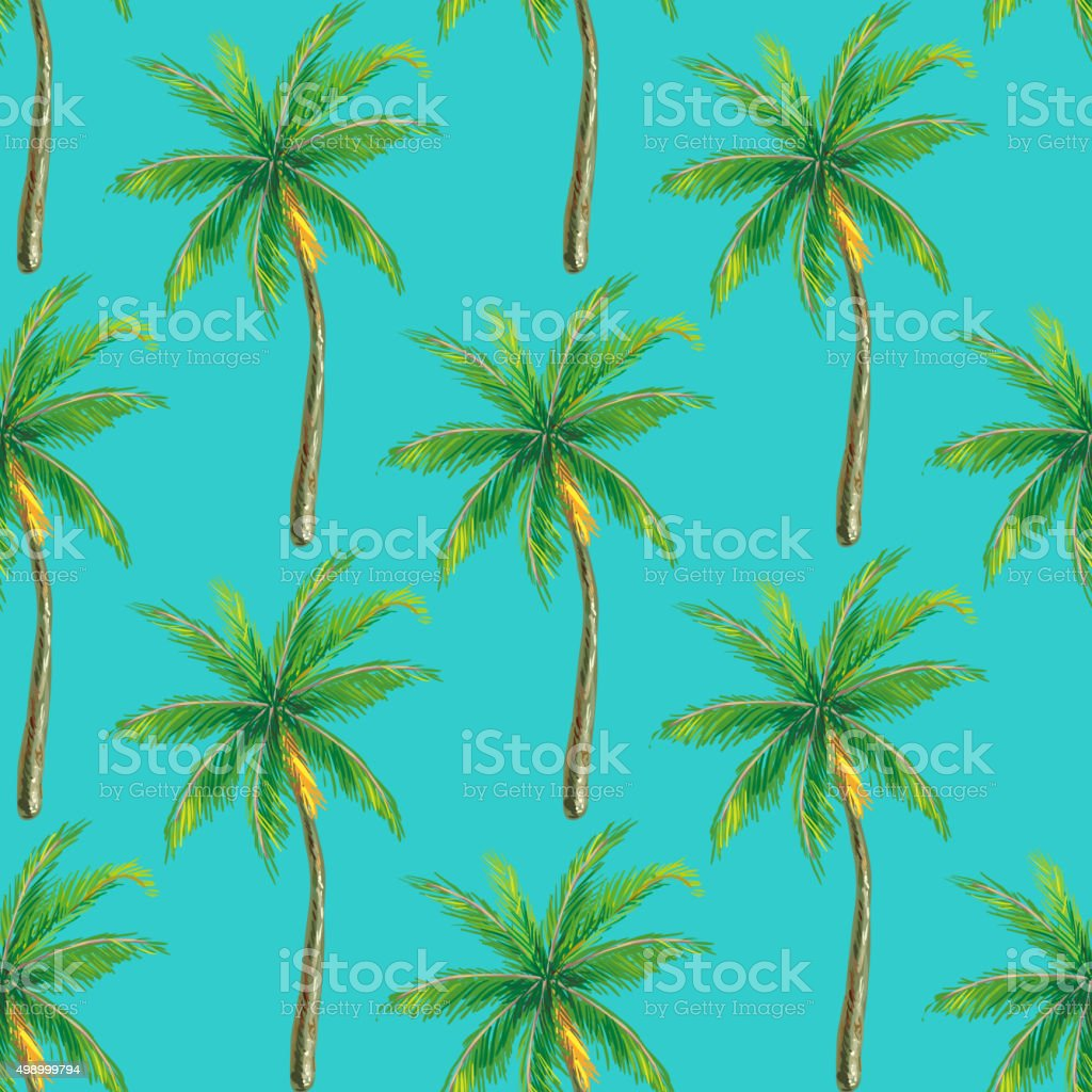 Summer seamless pattern with palm tree vector art illustration