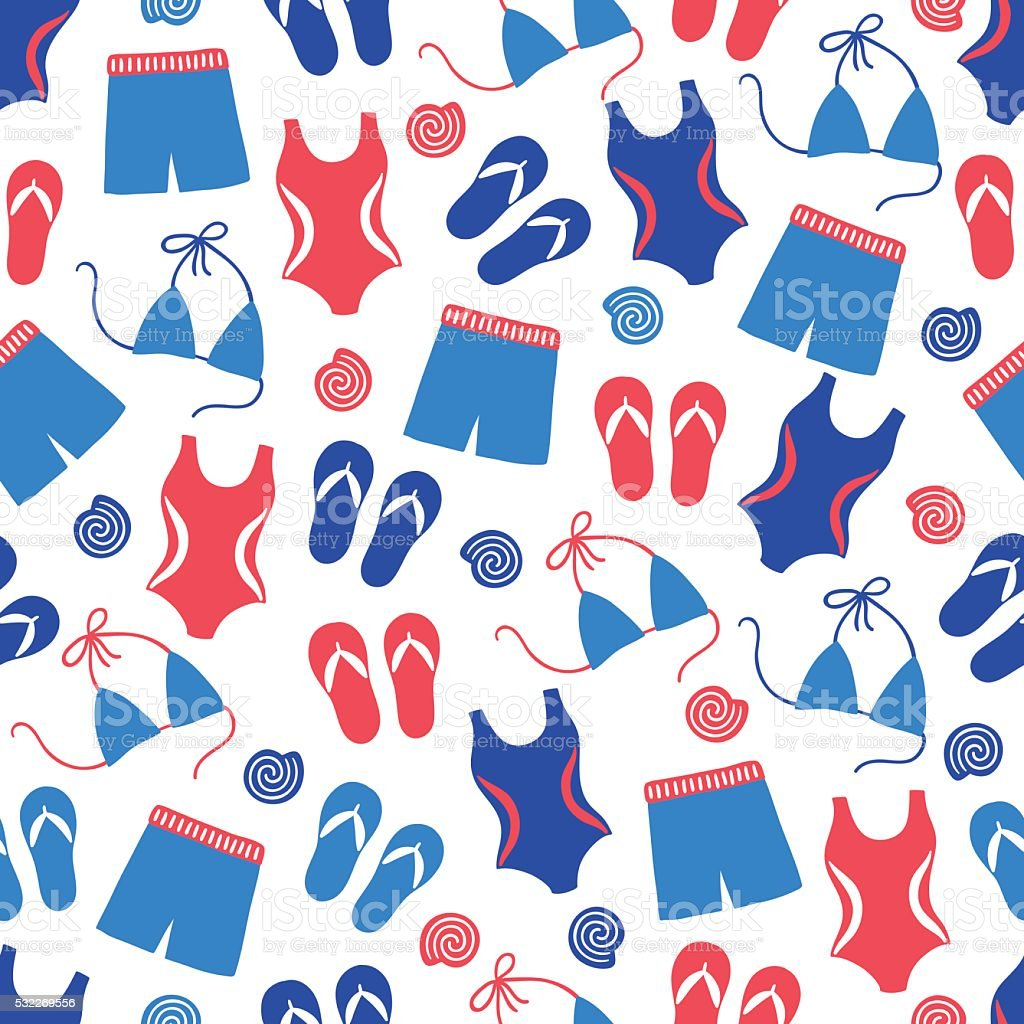 Summer seamless pattern with swimming clothes, shell, swimsuit vector art illustration