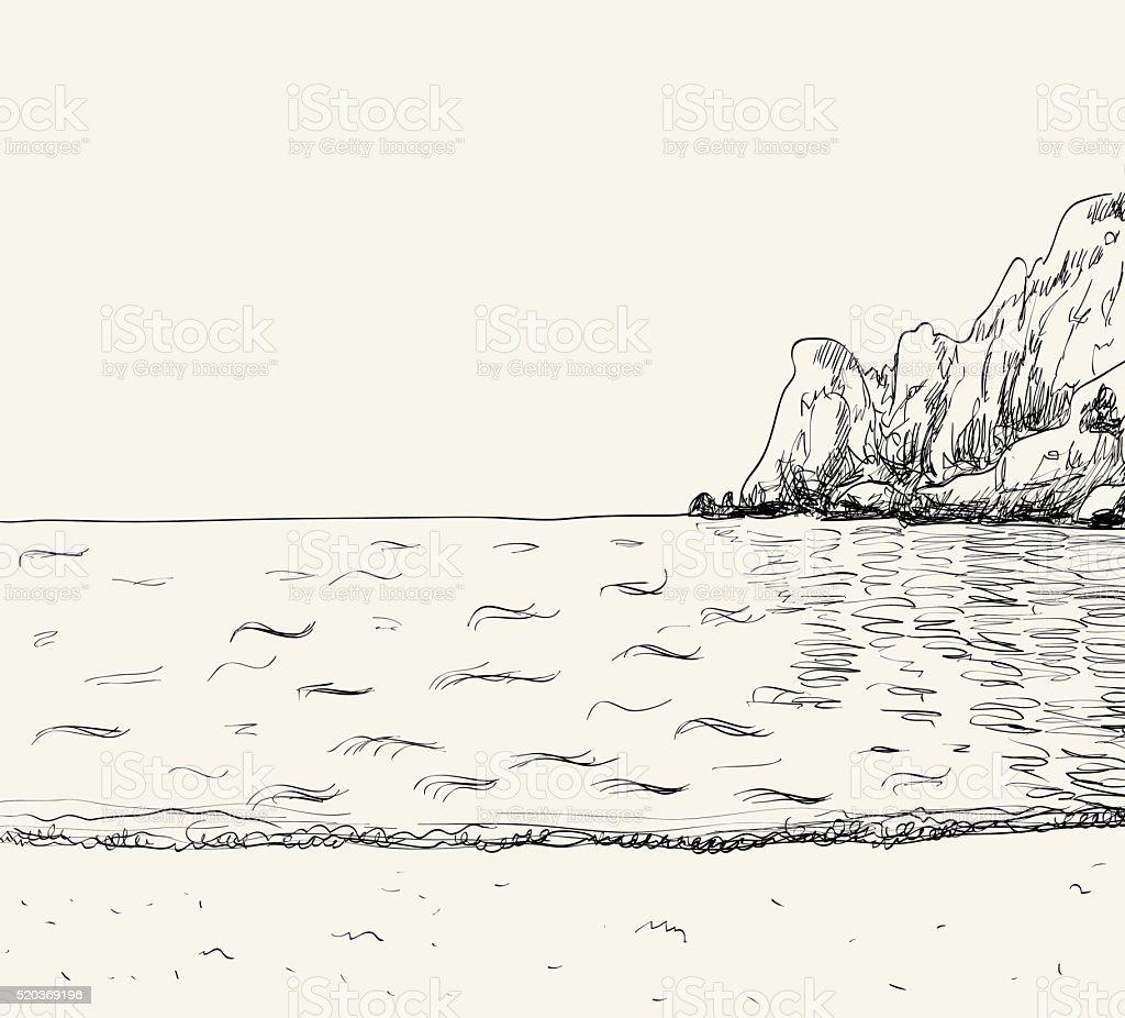 Summer seascape sketch vector art illustration