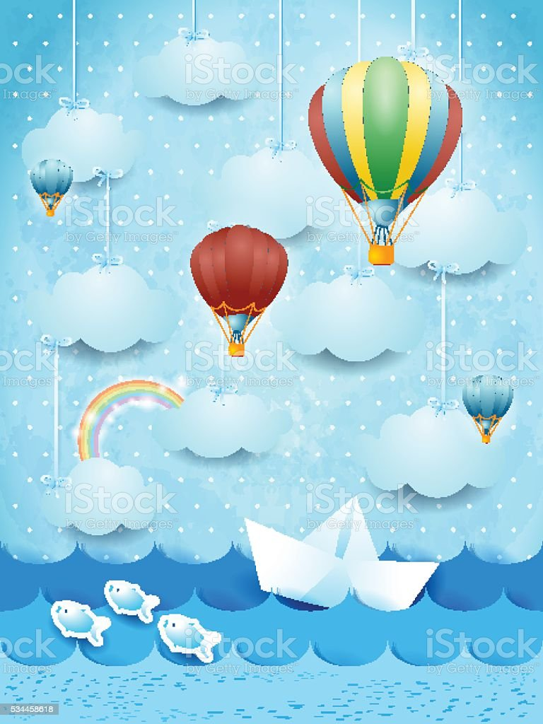 Summer seascape with hot air balloons and paper boat vector art illustration